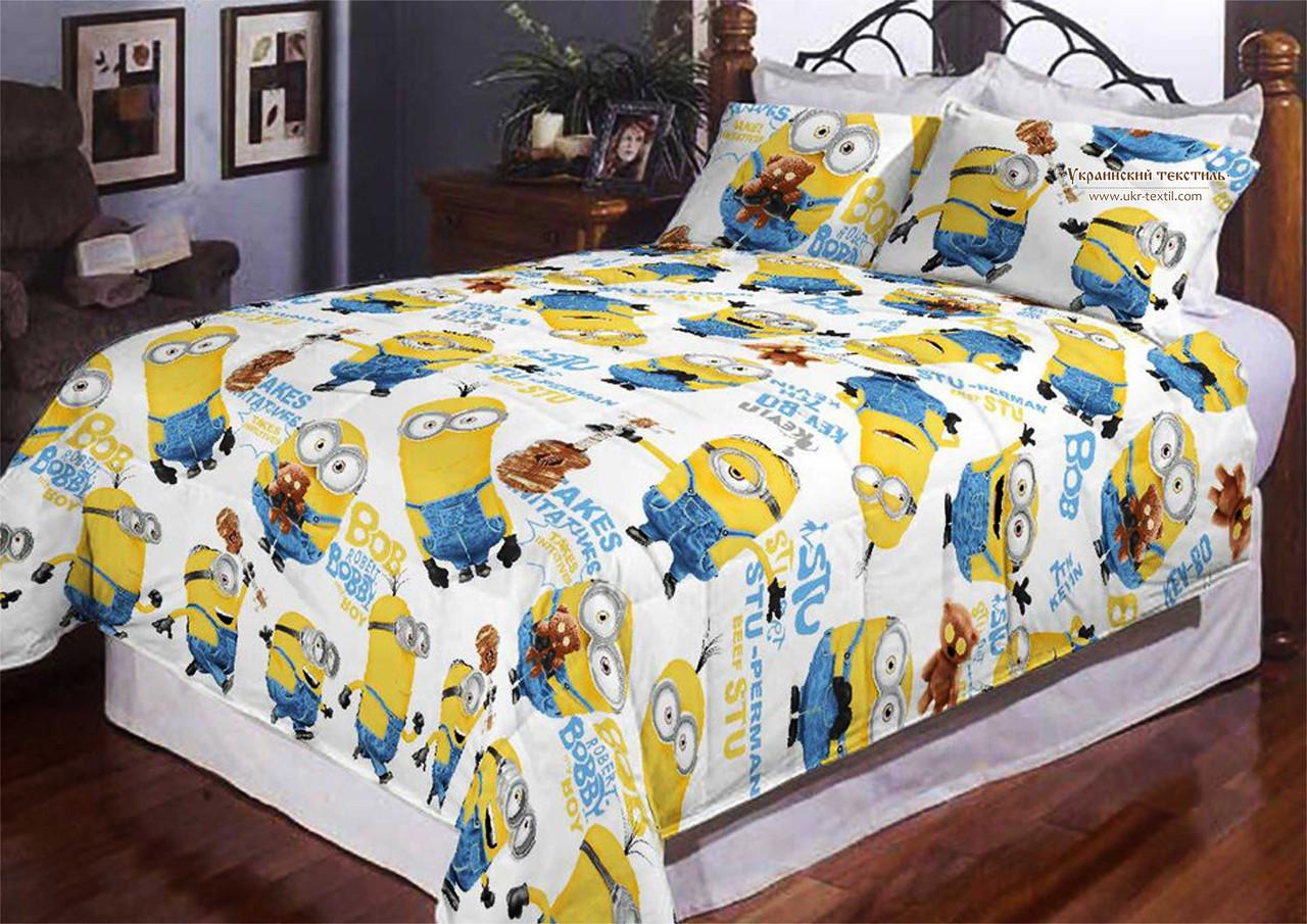 Комплект постельного белья подростковый Миньоны  на белом