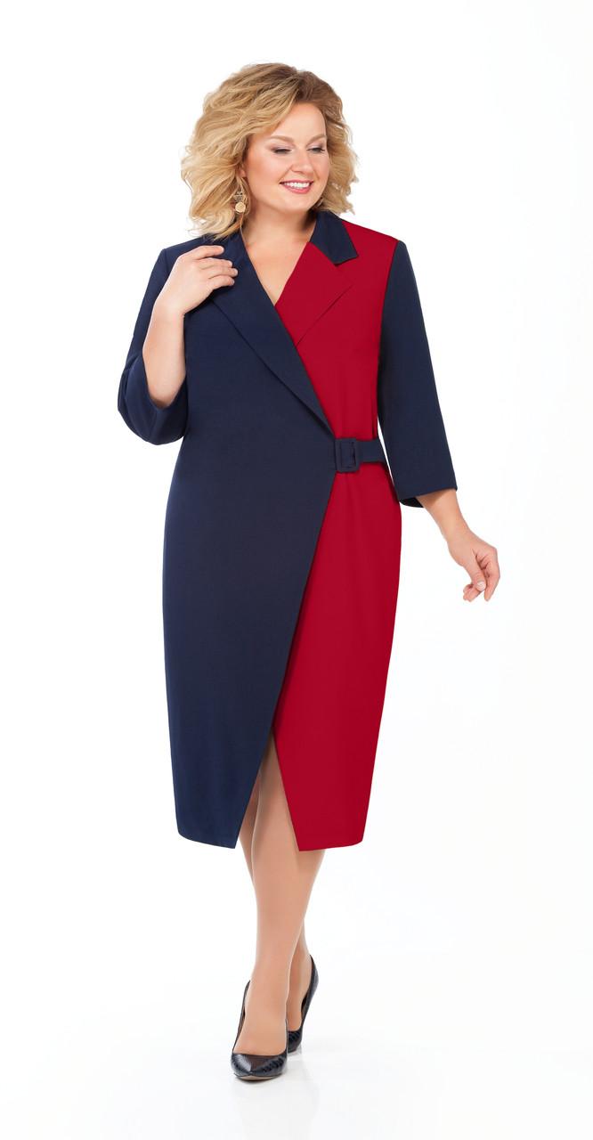 Сукня Pretty-929/1 білоруський трикотаж, темно-синій+бордо, 56