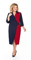 Платье Pretty-929/1 белорусский трикотаж, темно-синий+бордо, 56