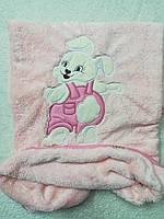 """Плед детский махровый розовый для девочки """"Зайка"""" ."""