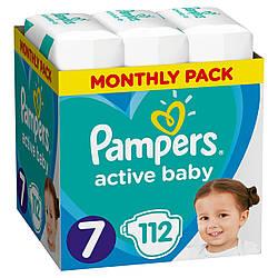 PAMPERS Подгузники Active Baby размер 7 - 112 шт.