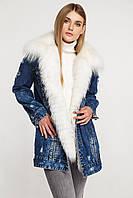 Куртка джинсовка женская с мехом полярной лисы
