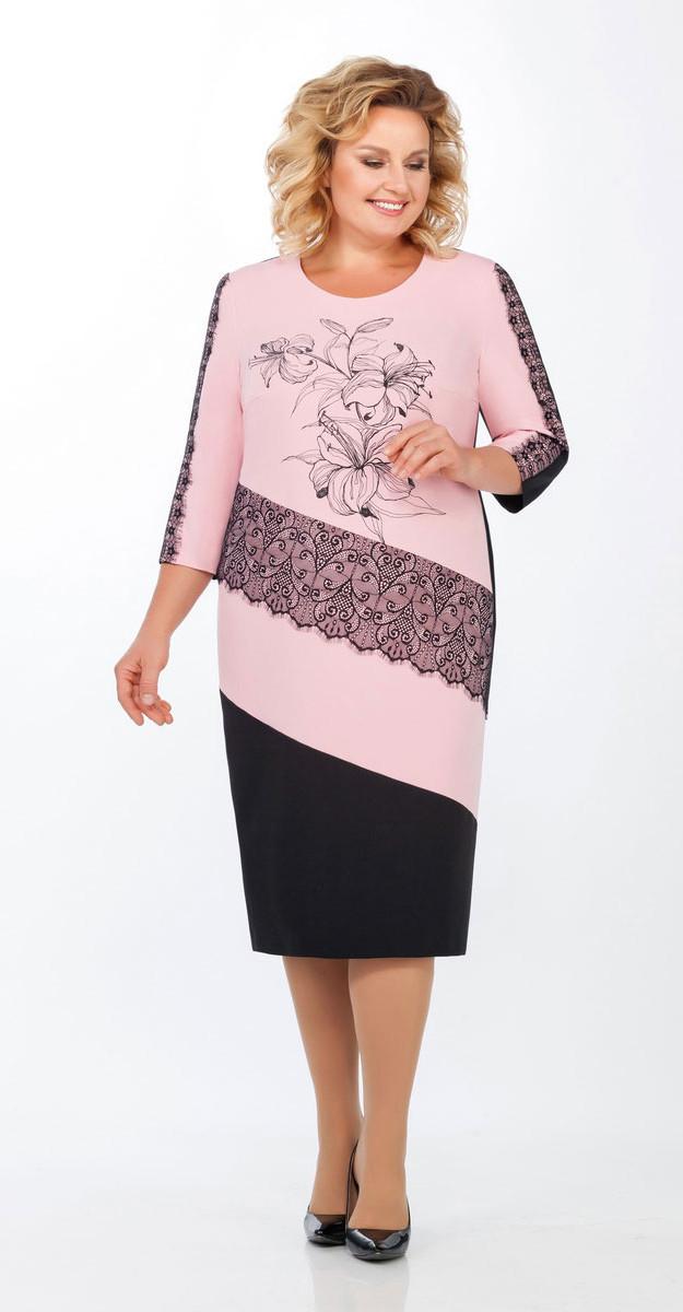 Платье Теллура-Л-1455/2 белорусский трикотаж, розовый, 52
