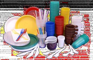 Тарелочки, стаканчики, ложки, вилки. (пластик, картон, стеклоподобная)