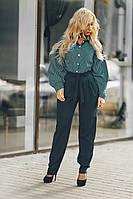 Бутылочные женские деловые брюки размеры 42-52
