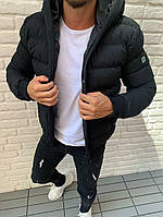 Куртка мужская демисезонная зимняя осенняя с капюшоном стильная чёрная  на синтепоне
