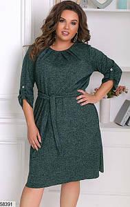 Трикотажное платье больших размеров из ангоры зеленое