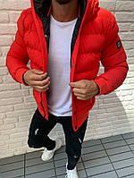 Куртка мужская демисезонная зимняя осенняя с капюшоном стильная красная  на синтепоне