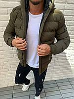 Куртка мужская демисезонная зимняя осенняя с капюшоном стильная хаки  на синтепоне