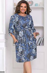 Трикотажное платье для полных из ангоры с принтом синее