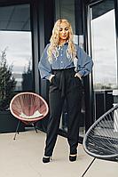 Классические женские черный брюки с высокой посадкой размеры 42-52