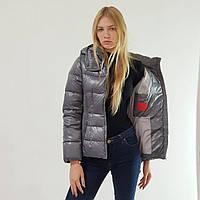 Пуховик-куртка зимний женский Snowimage с капюшоном короткий серый