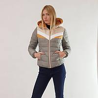 Пуховик-куртка зимний короткий женский Snowimage с капюшоном оливковый