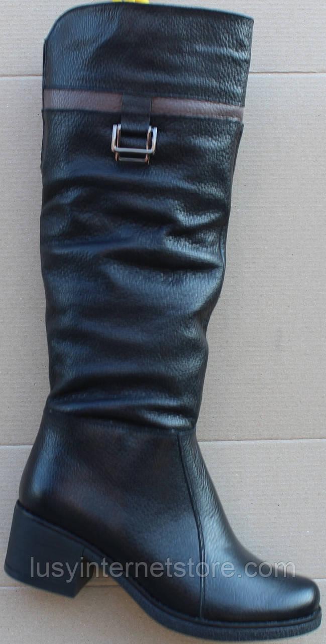 Сапоги женские зимние кожаные на каблуке от производителя модель Ф853