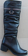 Сапоги женские зимние кожаные на каблуке от производителя модель Ф853, фото 1