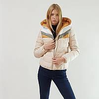 Женский осенний пуховик зимний Snowimage с капюшоном бежевый, распродажа