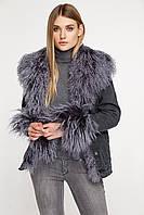 Джинсовая женская короткая куртка с мехом ламы, фото 1