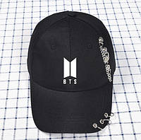 Кепка Бейсболка BTS с кольцами и цепями Черная с белой эмблемой