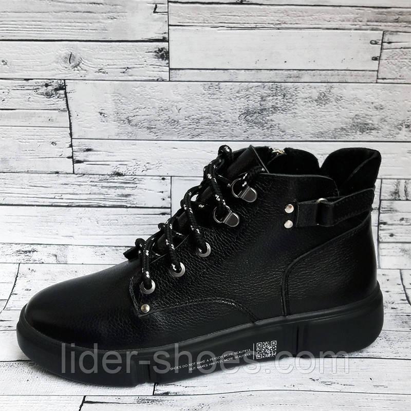 Женские осенние ботинки черного цвета