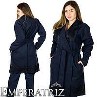Пальто с кружевом мод. 03437ХЛ+