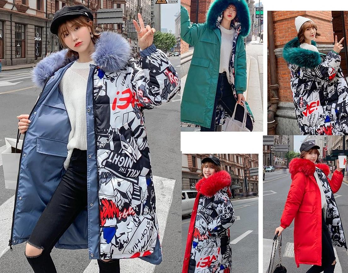 Женская двусторонняя зимняя куртка парка с принтом капюшон с мехом