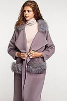 Пальто кашемировое длинное с мехом чернобурки , oversize, фото 1