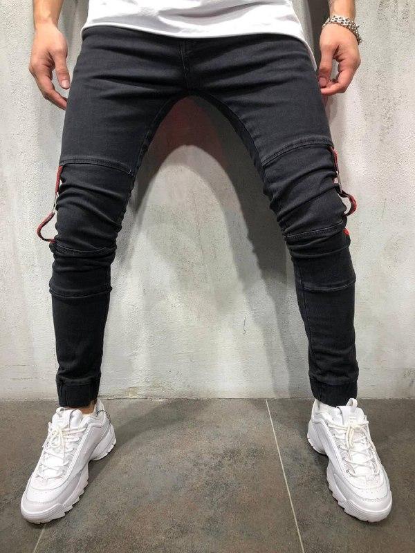 Мужские джинсы с полосками (черно-красные) - Турция