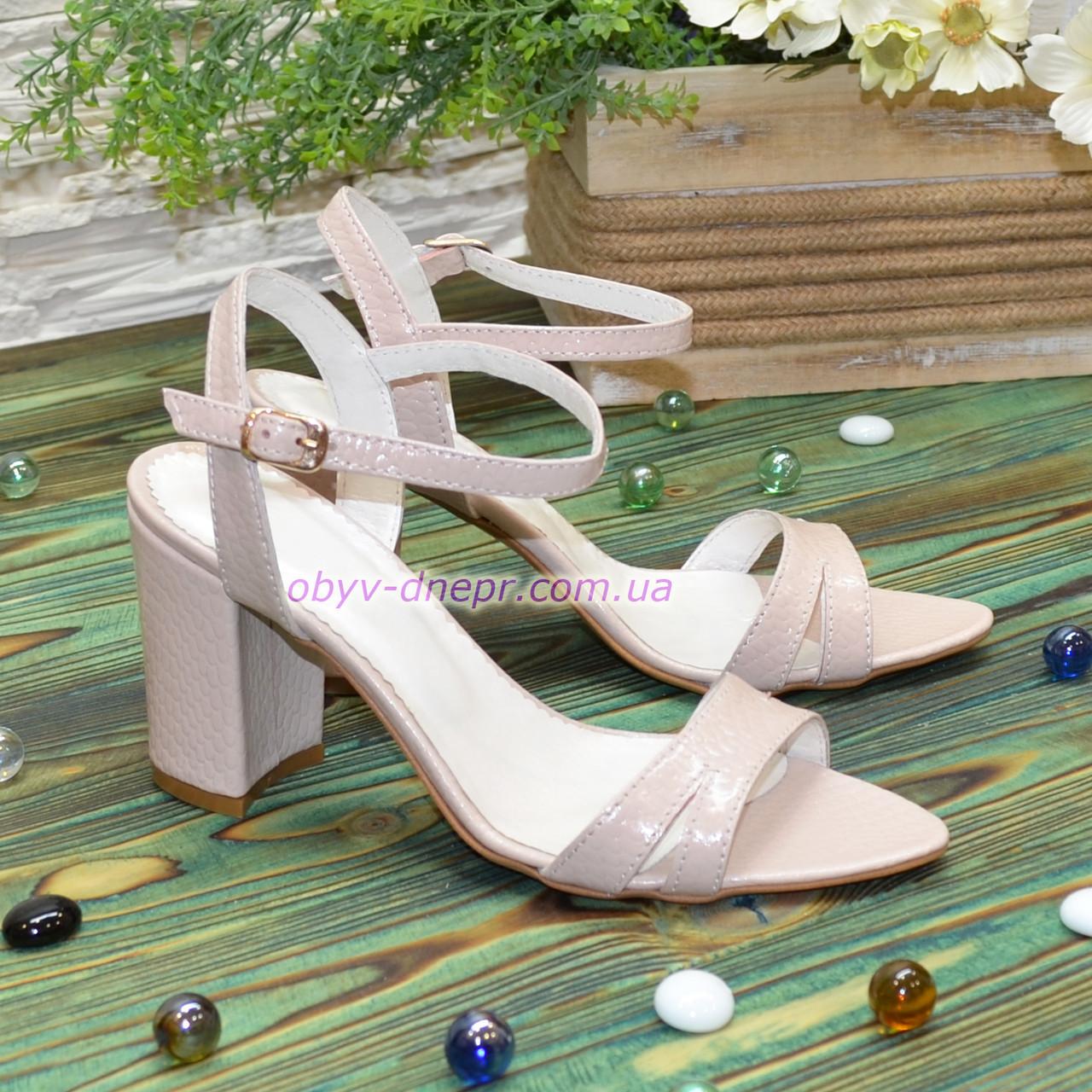 Женские кожаные босоножки на  устойчивом каблуке, цвет пудра. 37 размер