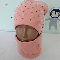 Комплект зимний шапка и снуд для девочек 4-6 лет, фото 1