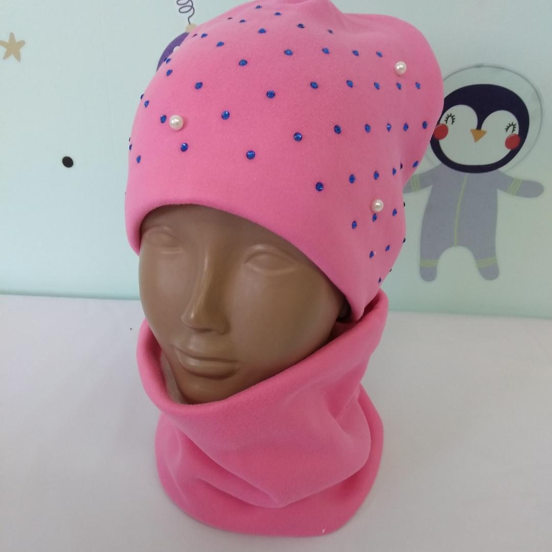 Комплект зимний шапка и снуд для девочек 4-6 лет