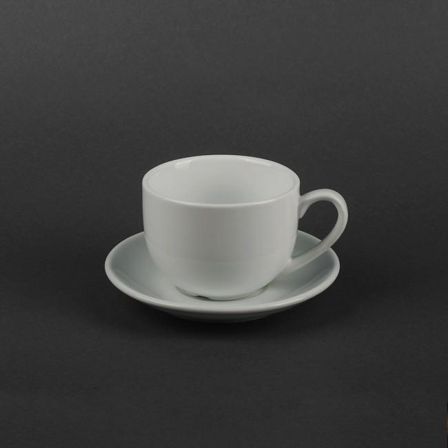 Чашка 250мл с блюдцем фарфоровые белые