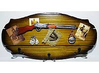 Деревянная ключница, 6 крючков (20 х 38 см). Органайзер для ключей настенный.