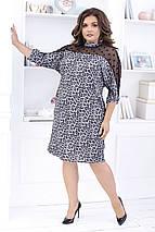 """Ангоровое миди-платье """"LEOPARD"""" с сеткой и четвертным рукавом (большие размеры), фото 2"""
