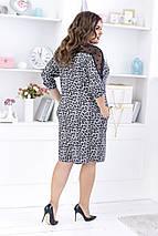 """Ангоровое миди-платье """"LEOPARD"""" с сеткой и четвертным рукавом (большие размеры), фото 3"""