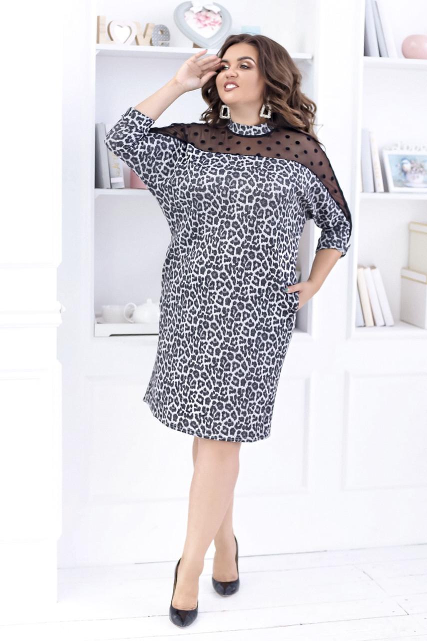 """Ангоровое миди-платье """"LEOPARD"""" с сеткой и четвертным рукавом (большие размеры)"""
