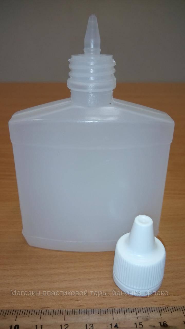 Флакон пластиковый 100 мл плоский с крышкой-капельницей, фото 1