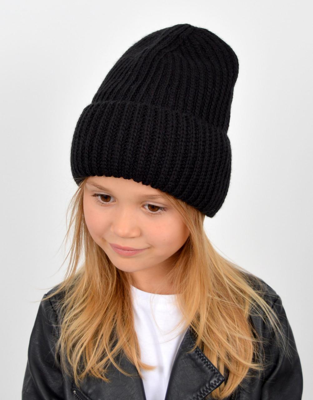 """Детская шапка """"Даша"""" черный"""