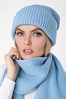 Комплект шапка+шарф . голубой, фото 1