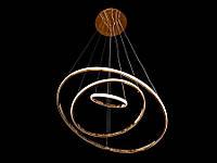 Светодиодная подвесная люстра с регулируемой высотой и пультом-диммером золото A9079-60*40*20, фото 1