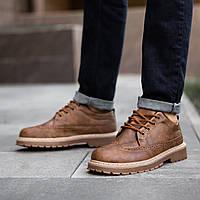 Туфли броги утепленные мехом мужские  Маунтейн Brown
