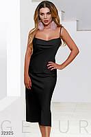 Шелковое черное платье в бельевом стиле  XS S M L XL