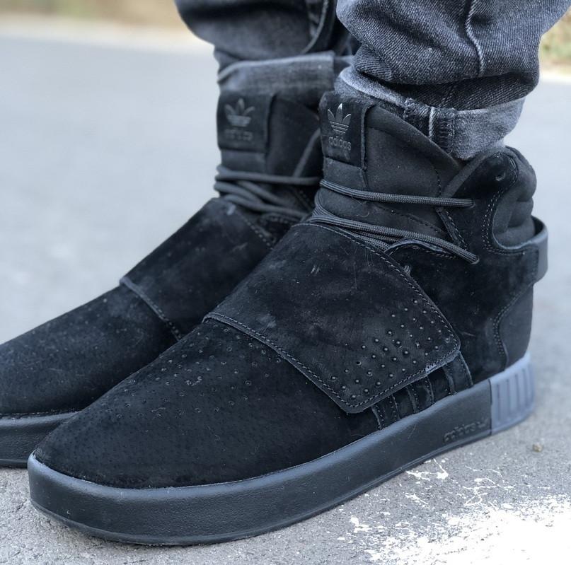 Мужские кроссовки Adidas Tubular Invader Triple black черные замша 40-44рр. Живое фото. (Реплика ААА+)