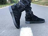 Мужские кроссовки Adidas Tubular Invader Triple black черные замша 40-44рр. Живое фото. (Реплика ААА+), фото 3