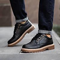 Туфли броги утепленные мехом мужские  Маунтейн Black