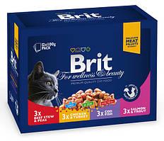 Brit Premium Cat Family Plate семейная тарелка ассорти 4 вкуса набор влажных кормов для кошек, 100г*12шт