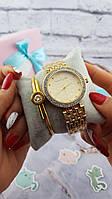 Женские наручные часы Michael Kors копия класса люкс, жіночі годинники Michael Kors (золото/белый)