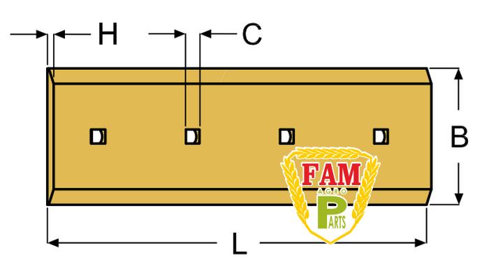 Нож ковша (режущая кромка) 884х203х16 мм Caterpillar 3G9306