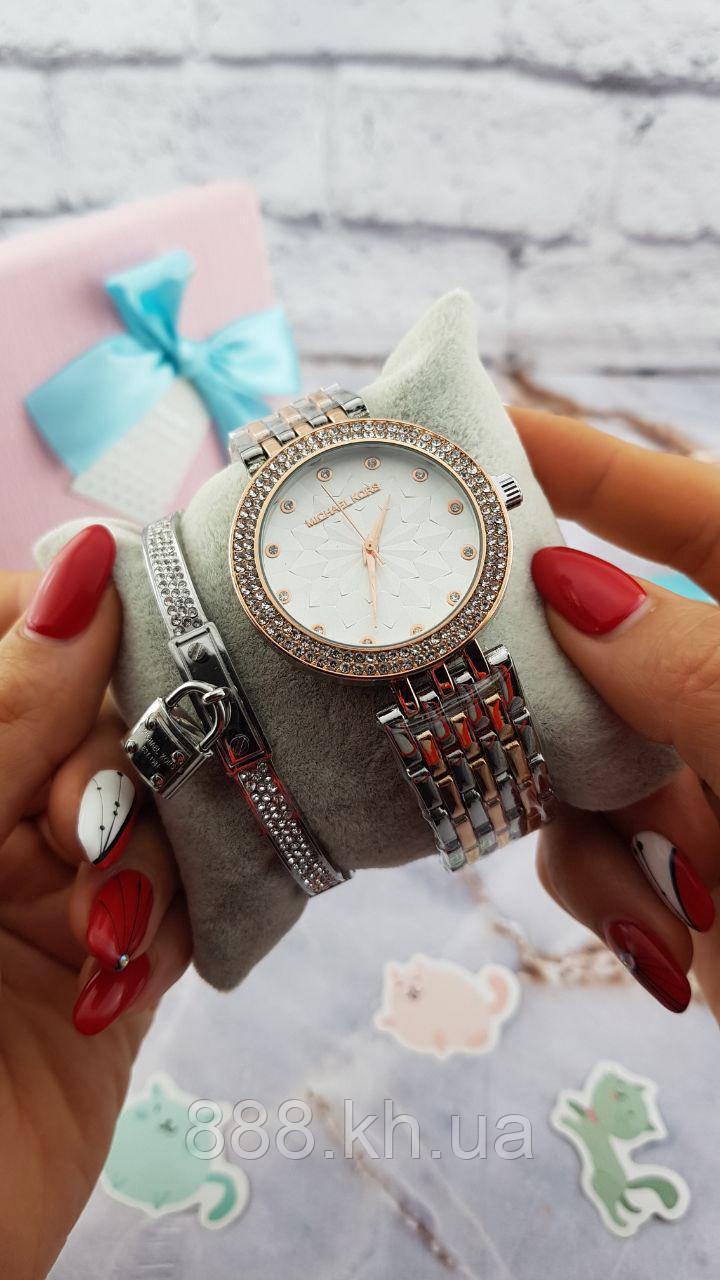 Женские наручные часы Michael Kors копия класса люкс, жіночі годинники Michael Kors (серебро+бронза/белый)