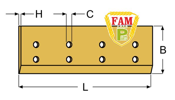 Нож ковша (режущая кромка) 2524х250(245)х25 мм Caterpillar 4E0659