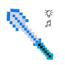 Алмазная лопата Майнкрафт свет, звук (синяя)